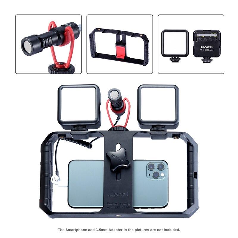ULANZI Vlog Living Stream Kit Record Microphone Smartphone Video Rig Hand Grip Mini LED Light Kit Mobile Phone Filmmaking Kit